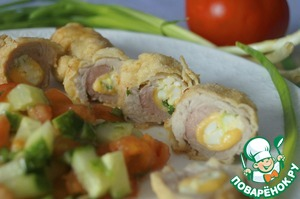 Рецепт Фламенкины с начинкой из сыра, яйца и зеленого лука