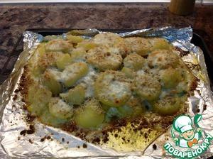 Рецепт Филе лосося со сливками, чесноком и пармезаном в духовке