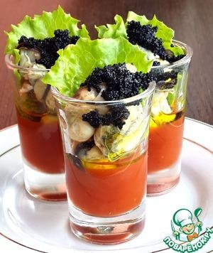 Рецепт Веррины с мидиями и томатным желе