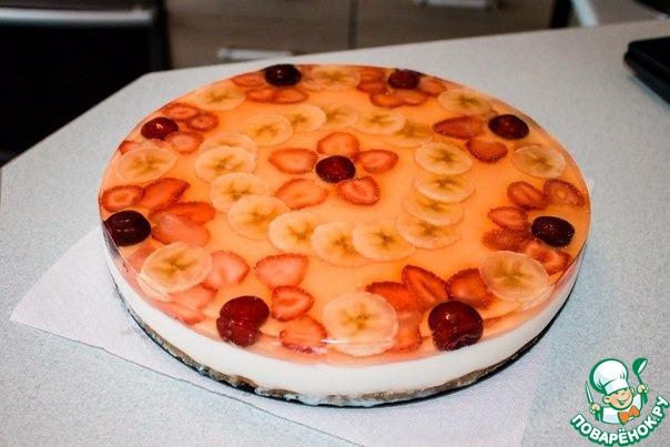 Торт с творогом и желе фруктовое