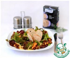 Рецепт Салат с карамелизованным нутом, зеленью и овощными чипсами