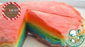 Рецепт Радужный торт из блинчиков