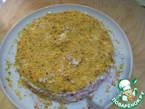 Рецепт Морковный торт со смородиновым вареньем и сливками