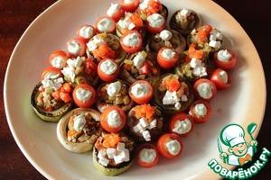 Рецепт Овощное трио с муссом из печеных баклажан