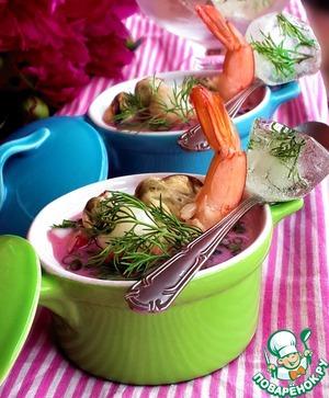 Рецепт Окрошка с морепродуктами на свекольном соке