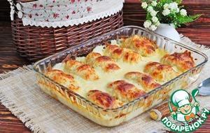 Рецепт Рогалики с рисом и курицей в сливочно-сырной заливке