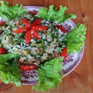 """Рецепт Салат """"Дачный"""" с печеными овощами и рисом"""