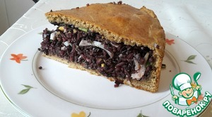 Рецепт Пирог с рисом, яйцами, ветчиной и зеленью