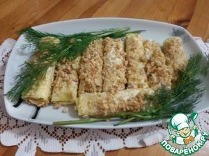 Рецепт Сырные трубочки с чесноком и орешками