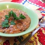 Густой горохово-чечевичный суп со свеклой