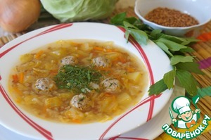 Buckwheat soup with cabbage and meatballs