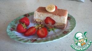 Рецепт Творожный десерт с бананом и клубникой