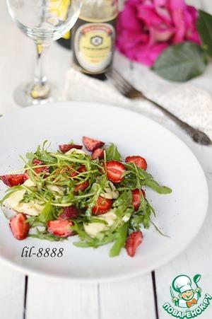 Рецепт Салат из клубники. теплого сулугуни и рукколы