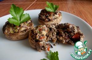 Рецепт Фаршированные шампиньоны с творогом и помидором