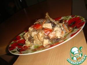 Рецепт Салат из баклажан, курицы, грибов