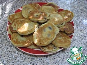 Рецепт Пышные оладьи с изюмом на кефире