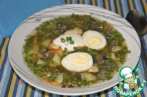 Рецепт Суп с грибами и шпинатом
