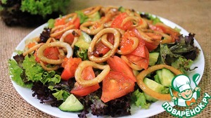 Рецепт Вкусный салат из кальмаров