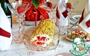 Рецепт Рулет безе с клубнично-карамельным кремом