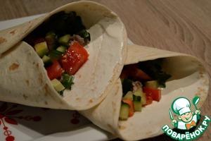Рецепт Бурито с фаршем, овощами и табаско