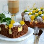 Шоколадно-ореховый пирог с творожным кремом