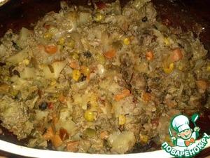 Рецепт Блюдо в горшочках. Овощи с фаршем