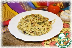 Рецепт Спагетти с грибами и шпинатом