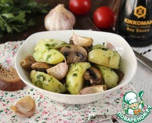 Рецепт Салат с картофелем, грибами и печеным чесноком