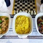 Рассыпчатый рис с баклажанами и курицей карри