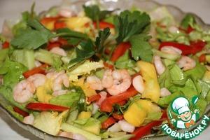 Рецепт Салат из креветок и манго
