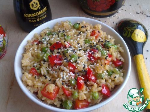 Рис с зеленым горошком и соевым соусом домашний пошаговый рецепт приготовления с фотографиями #10