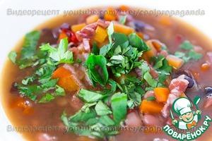 Рецепт Густой острый фасолевый суп с беконом