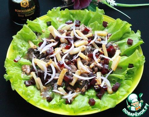 Как готовить Салат со свёклой, шампиньонами и жареным картофелем домашний рецепт с фото #7