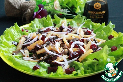Как готовить Салат со свёклой, шампиньонами и жареным картофелем домашний рецепт с фото #8