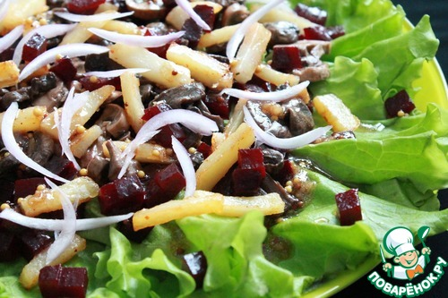 Как готовить Салат со свёклой, шампиньонами и жареным картофелем домашний рецепт с фото #9
