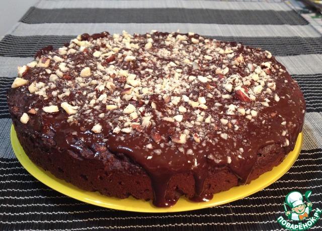 Шоколадный пирог с финиками и орехами вкусный пошаговый рецепт с фотографиями #9