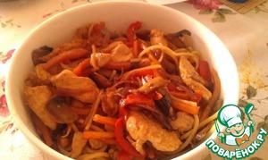 Рецепт Курица терияки с пастой и овощами