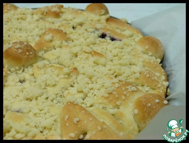 Дрожжевой пирог с черничным вареньем и штрейзелем домашний рецепт приготовления с фотографиями пошагово как приготовить #7