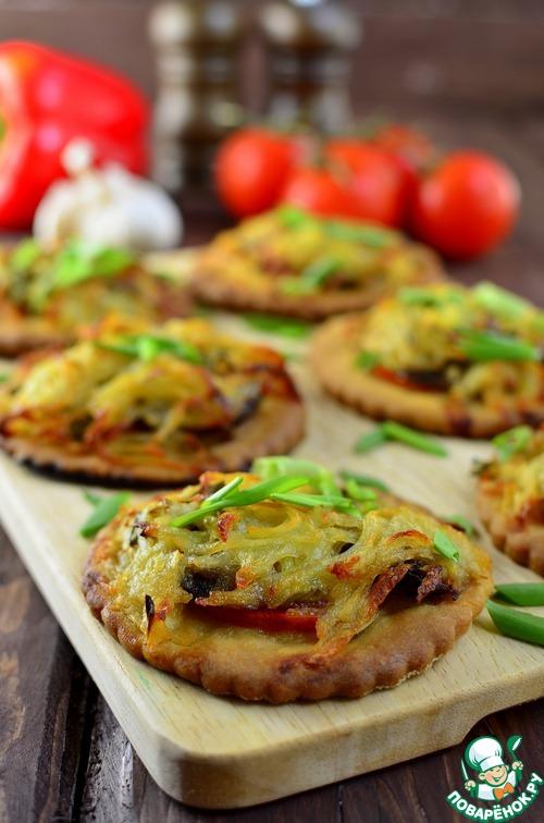 """Мини-""""пиццы"""" с картофельными шапочками простой рецепт приготовления с фотографиями пошагово как готовить #7"""