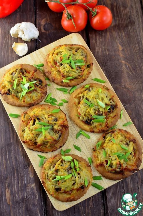 """Мини-""""пиццы"""" с картофельными шапочками простой рецепт приготовления с фотографиями пошагово как готовить #8"""