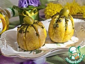 """Рецепт """"Картофельная лилия"""" запеченная с зеленым соусом"""