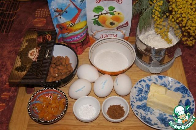 Шоколадно-миндальный кекс с малиновым джемом простой пошаговый рецепт с фото готовим #1