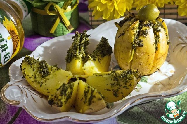 """Как готовить Картофельная """"лилия"""", запеченная с зеленым соусом простой рецепт с фото #7"""