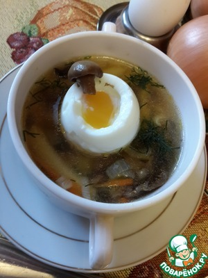 Рецепт Суп из соленых волнушек с яйцом всмятку
