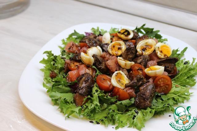 Салат с куриной печенью и грейпфрутом простой рецепт с фото пошагово #8