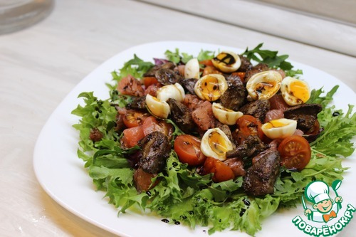Салат с куриной печенью и грейпфрутом простой рецепт с фото пошагово #9