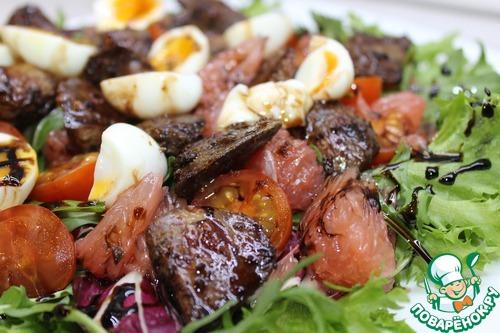 Салат с куриной печенью и грейпфрутом простой рецепт с фото пошагово #11