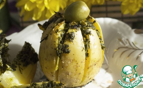 """Как готовить Картофельная """"лилия"""", запеченная с зеленым соусом простой рецепт с фото #11"""