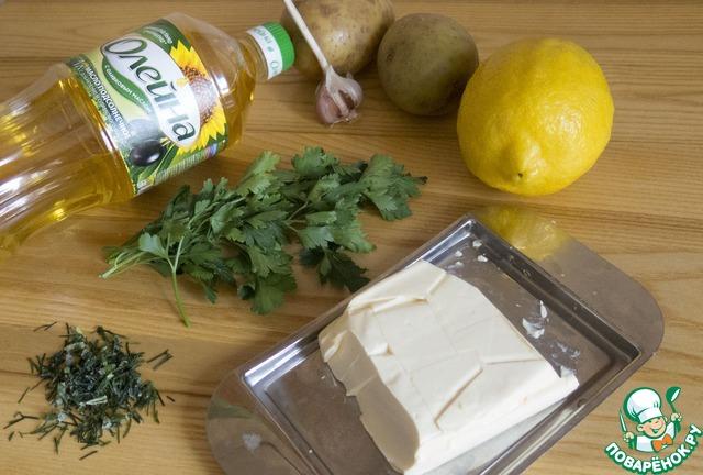 """Как готовить Картофельная """"лилия"""", запеченная с зеленым соусом простой рецепт с фото #1"""