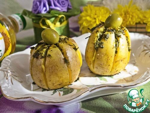 """Как готовить Картофельная """"лилия"""", запеченная с зеленым соусом простой рецепт с фото #9"""